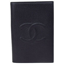 Auth CHANEL CC Logos Notebook Cover Caviar Skin Leather Black Vintage 68P463