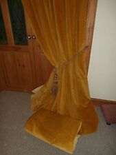 """Large Gold Vintage Velvet Curtains.86""""Drop - 180""""Wide.Lined.CLEANED.FREE POSTAGE"""