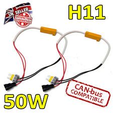 2 x H11 50w LED Error Cancelers 6ohm LED Fog Lights - Error Free - Canbus Safe