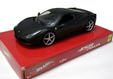 HOT WHEELS FERRARI 458 ITALIA BLACK 1/24 DIECAST MODEL CAR BCK05 NEW