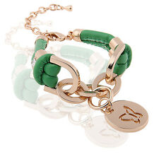 Green PU Leather & Gold Rhinestones Wrap Butterfly Charm Bracelet BB65