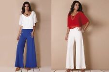 Ladies Gorgeous Nautical Vintage Retro Sailor Swing Flare Trousers Pants New Siz