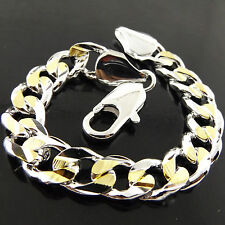 A525 GENUINE REAL 925 STERLING SILVER S/F & GOLD G/F MENS CURB BRACELET BANGLE