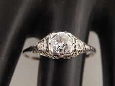 Vintage Art Deco Diamond Ring 18K Filigree  .64 tcw Old Mine Cut G/VS Engagement