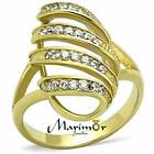 STAINLESS STEEL 14K GOLD ION PLATED CRYSTAL FASHION RING WOMEN'S SIZE 5-10