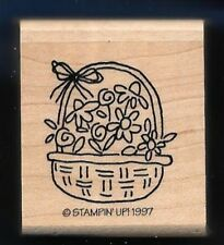 DAISY BASKET Botanical Flower Occasion Card Stampin' Up! wood Hobby RUBBER STAMP