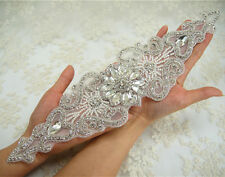 Stunning Beaded Motif Pearl Diamante Wedding Applique Rhinestone Bridal Applique