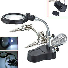 3.5X 12X Helping Hand Soldering Stand With LED Light Magnifier Magnifying Lens #