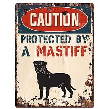 PP2088 CAUTION PROTECTED BY A MASTIFF Rustic Plate Chic Sign Home Door Decor