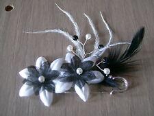 Broche Attache / Remonte Traine  Noir/Blanc Plumes p robe Mariée/Mariage/Soirée