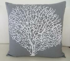 White Painterly Coral on Storm Grey Cotton Cushion Cover 45cm