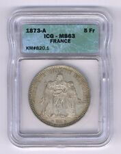 FRANCE  1873-A  5 FRANCS SILVER COIN, CHOICE UNCIRCULATED, ICG CERTIFIED MS-63