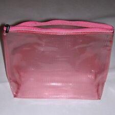 """Clinique Clear-Pink Makeup Bag. Signature Zipper Closure. 9-1/4"""" x 12"""" x 4"""" NEW!"""