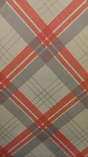 252701 Fairburn Arthouse Coral & Taupe Tartan Check Vintage Wallpaper