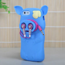 For iPhone 5 5S SE Rubber SILICONE Soft Gel Skin Case Phone Cover Blue Pig Nose
