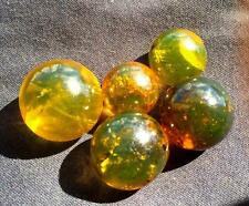 5  ROUND  DOMINICAN  GREEN BLUE  AMBER BEAD  21 - 28 MM  * BALL  SPHERE