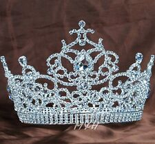 "Deluxe Flower Large Tiara 5.5"" Rhinestone Crystal Beauty Pageant Party Art Deco"