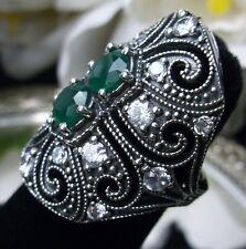 Green & White Gemstone Art Deco 1930s Sterling Silver 925 Filigree Ring size 5