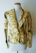 ROBERTO CAVALLI JUST CAVALLI YELLOW METALLIC STRETCH COTTON JACKET SIZE SMALL