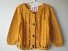 HANNA ANDERSSON Village Folktale Glitter Cable Cardigan Sweater Maple 60 6-9 NWT