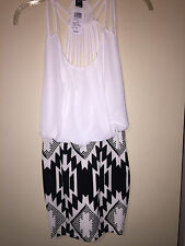 Womens NWT Windsor Black/White Aztec Open Back Bodycon Small Cocktail Dress