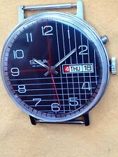 Vintage RARE Men's Mechanical Wrist Watch SLAVA 26 JEWELS Soviet USSR BLACK DIAL