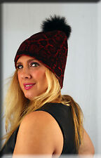 New Red Snake Skin Print Beanie Black Fox Fur Pom Pom Efurs4less