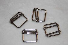"4 silver metal square BELT BUCKLE Buckles 1"" Doll Craft Sewing P83"