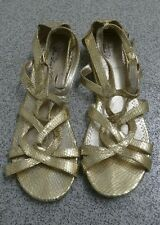 Gold Snakeskin Effect Gladiator Strappy Sandals Low Wedge. Size 6