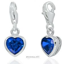 1PC Sterling Silver Small Heart Clip On European Charm w/CZ Sapphire Blue #94256