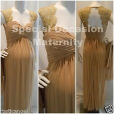 New Long Gold Lace Cutout Back Maternity Dress Gown Chiffon MEDIUM Formal Prom