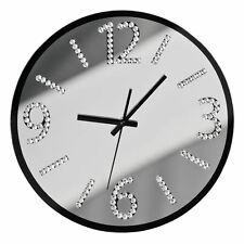 Premier Housewares Wall Clock, Glass, Black/Mirror with Diamantes