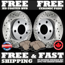 P0222 2 Front Drilled Brake Rotors and 4 Ceramic Pads Civic