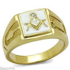 MASONIC MASON WHITE GOLD BLACK CZ RING SIZE 9 10 11 12 13 14 15