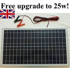 25w Solar Panel for 20w price 12v Charger /w 4m cable Block Diode & Battery Clip
