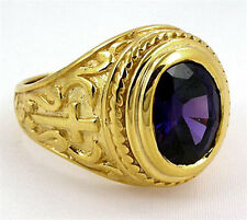 CROSS CHRISTIAN BISHOP 14K YELLOW GOLD STERLING SILVER RING NEW MENS