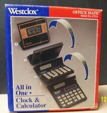 Westclox Office Mate~All in One~Clock & Calculator~Foldable,Dual Power,Desktop!