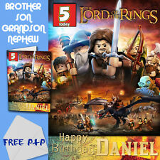 LORD OF THE RINGS LEGO - PERSONALISED Birthday Card Son Brother Nephew Grandson