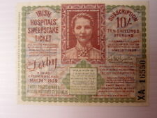 Irish Hospitals Sweepstake Ticket THE DERBY EPSOM 1939 Horse Race 10 Shillings