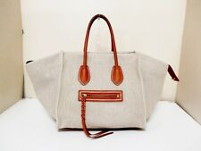 Authentic CELINE Beige Dark Brown Luggage Small Square Phantom Hemp Tote Bag