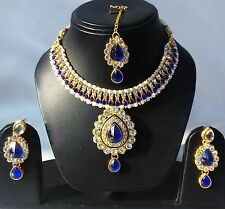 Indian Traditional Kundan Blue color Set Necklace and Earrings Gold Plated