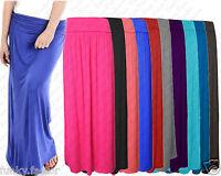New Women Ladies Waistband Fold Over Full Maxi Skirt Full Length Maxi Dress 8-14