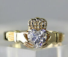 Vintage Ireland 9k Yellow Gold Heart Shaped CZ Celtic Claddagh Band Ring Size 8