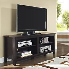 "Walker Edison W58CSPES Essential 58"" Wood TV Console Espresso TV Stand New"