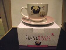 PUG CAPPUCCINO MUG AND SAUCER SET
