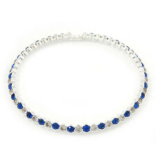 Silver Plated Clear/ Sapphire Blue Coloured Diamante Flex Choker Necklace