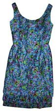 VICTORIA ROYAL LTD Vintage 1960s Beaded Turquoise Purple Green Floral Dress 12
