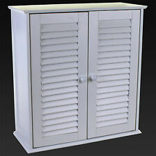 BATHROOM CABINET WALL MOUNTED CUPBOARD SLATTED DOOR WHITE WOODEN STORAGE SHELF