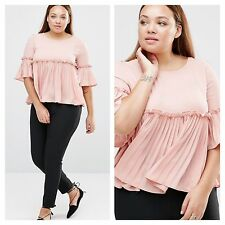 Praslin @ Simply Be Size 26 Pink Pleated Ruffle Frill TOP BLOUSE Cute £45