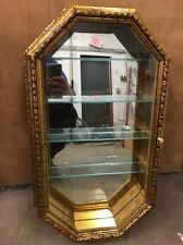 Horchow Glass Gold Curio Cabinet Gold Hanging Display Case